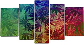 YATELI Stretched and Framed Canvas Prints Wall Art 5 Panels for Bedroom Kitchen Home Decorations Giclee Abstract Rainbow Colorful Art Leaf car