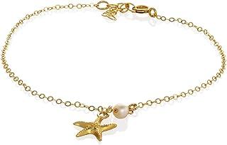 """Beach cavigliera stella d'oro perla cavigliera d'oro gioielleria cavigliera per le donne lunghezza 21,5 centimetri / 8,5""""+..."""