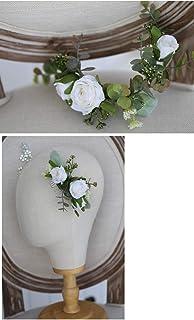 FIDDY898 Silk Rose Floral Hair Accessories Greenery Wedding Hairpiece