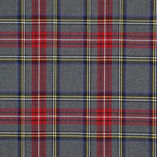 Schottenkaro Tartan Karo Groß – grau — Meterware ab 0,5m — zum Nähen von Blusen/Hemden, Röcke und Kleider