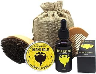 Men Beard Care Kit Mustache Grooming Trimming Set - Beard Brush + Beard Comb + Natural Beard Oil + Natural Beard Balm - Perfect Gift Kit (oil+balm+brush+comb)