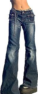 Jeans Women Sexy Wide Leg Y2K Cargo Jean Pants Patchwork Vintage Pants E-Girl Streetwear Loose Jeans Straight Baggy Denim ...
