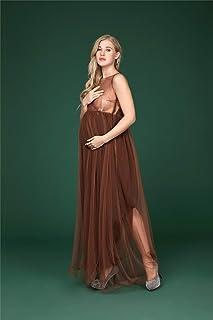 エレガントな妊娠中の女性のチュールレースノースリーブワンピースカクテルパーティーボールガウン写真の小道具写真を撮る