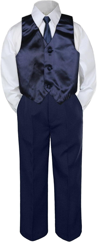 4pc Baby Toddler Boy Formal Suit Tuxedo Navy Pants Shirt Vest Necktie Set Sm-4T