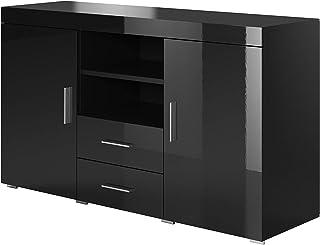 muebles bonitos Aparador Moderno Modelo Roque Negro de melamina Brillo Ancho 140cm Alto 80cm Profundo 40cm