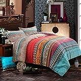 NANKO Comforter Set Queen Size, 3pc Boho Red Blue Colorful Retro Striped Pattern Print 88 x 90 inch Reversible Comforter Microfiber Duvet Sets Bedding Bohemian Exotic Modern Farmhouse for Men Women