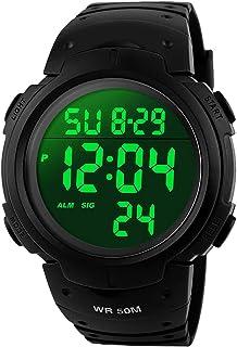 Montres de sport des hommes de Digital, montre de sport imperméable de 5 atmosphères avec l'alarme Montre de poignet milit...