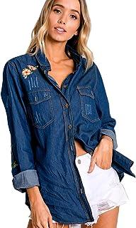 Crazy4Bling Davi & Dani Dark Denim Rustic Floral Accent Button Down Shirt, Medium