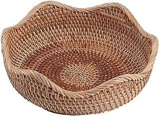 amololo Handmade Rattan Round Fruit Basket Food Storage Bowls Kitchen Organizer Snack Serving Bowl (Small 8.7