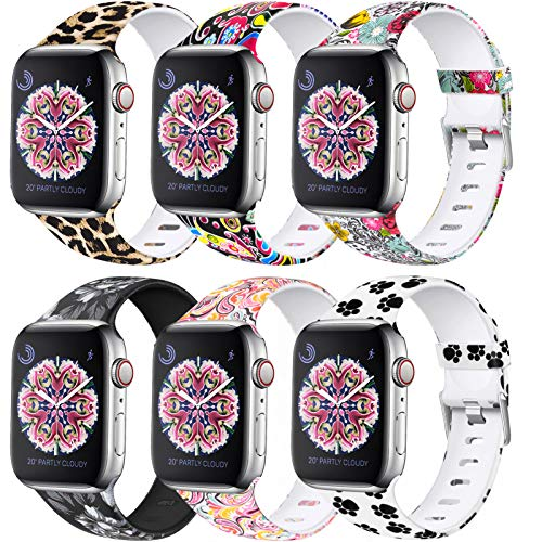 Laffav Compatible with Apple Watch Band 40mm 38mm iWatch SE & Series 6 & Series 5 4 3 2 1 for Women Men, 6 Pack, S/M