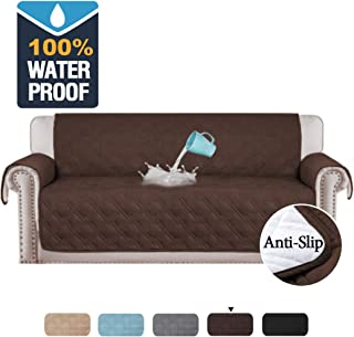H.VERSAILTEX 100% Waterproof Extra-Wide Couch Cover for Dogs Non-Slip Oversized Sofa Covers for Leather Couch, Seat Width Up to 78 Inch Washable Furniture Protector (Oversized Sofa: Brown)
