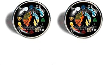 Handmade Jewelry Elements Fire Water Tribe Earth Kingdom Air Nomads Symbol Avatar the last Airbender Cufflinks Cuff links Legend of Korra Cosplay Charm Men