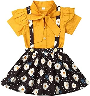 2PCS Baby Girls Floral Dress Short Sleeve Tshirt Top And Daisy Suspender Strap Skirts