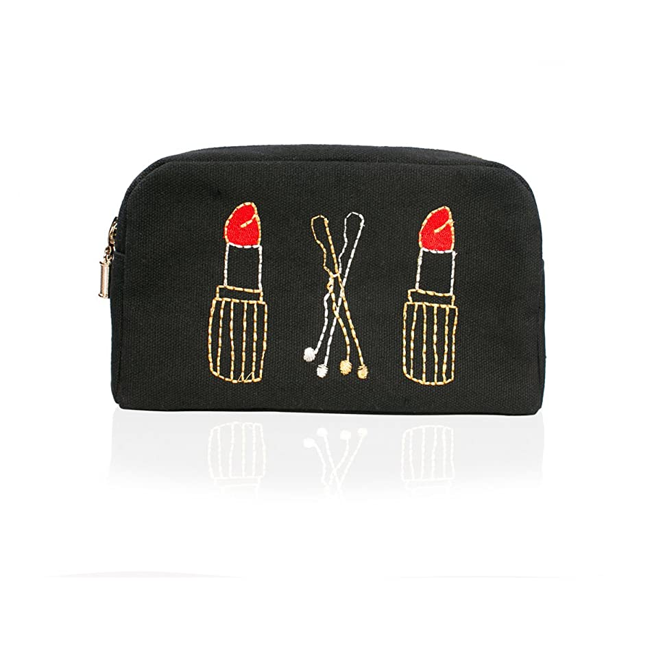 Emma Lomax Lips & Clips Double-Zip Make-Up Bag, Black