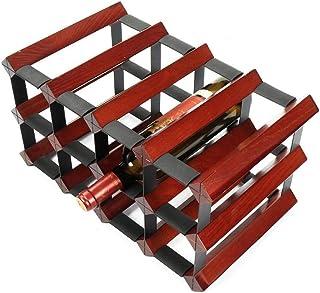 Estantes para vino Gabinete de madera natural de acero de madera y metal independiente en la mesa Decoración de almacenami...