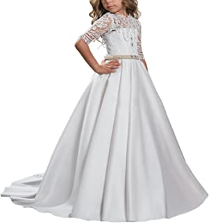 Beautiful First Communion Dress Lace Satin Princess Ball Gown Hollow Back Flower Girl Dress