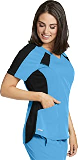 Grey's Anatomy Spandex-Stretch 3-Pocket Color Block V-Neck Scrub Top for Women