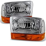 AKKON - For 1999-2004 Ford F250 F350 F450 F550 SuperDuty Excursion Chrome Headlights With Amber Bumper Signal Light Lamps