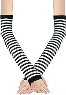 Women Stripe Print Knitted Fingerless Elbow Length Gloves Warmers Pair