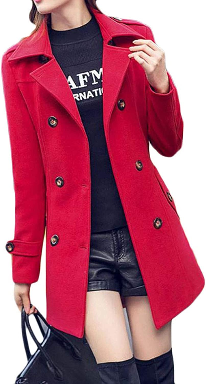 Cromoncent Womens Fall Winter Lapel Double Breasted Wool Blended Outwear Pea Coat