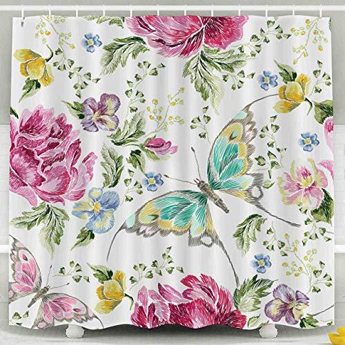 N\A Duschvorhang, Weihnachten Stickerei Trend Blumenmuster Rosen Veilchen Schmetterlinge Traditionelle Volksblumen Wasserdicht Dekorative Badezimmer Stoff Duschvorhänge, Gelbgrün