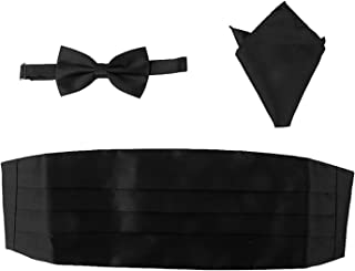 WINOMO Men Satin Bow Tie Cummerbund Handkerchief Pocket Square Hanky Black Set of 3