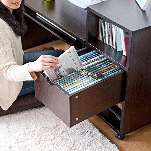 サンワダイレクトローデスクキャビネットキーボードスライダー付き幅85×奥行45cm和室/洋室パソコンデスクロータイプダークブラウン100-DESKL001