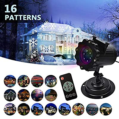 LIFU Christmas Lights Projector - [2019 Upgraded] Version 16 Patterns LED Projector Landscape lamp Remote Control and Waterproof - Perfect for Halloween or Christmas