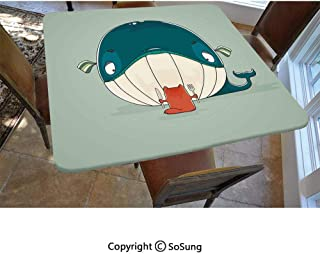Whale Polyester Fitted Tablecloth,Greedy Little Cat Sitting Down to Dine on A Huge Fish Dinner of Whale Cartoon Square Elastic Edge Fitted Table Cover,Fits Square Tables 48x48 Almond Green Teal