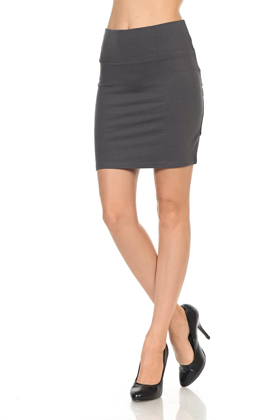 Maryclan Women's Solid High Waist Stretch Cotton Span Mini Skirt