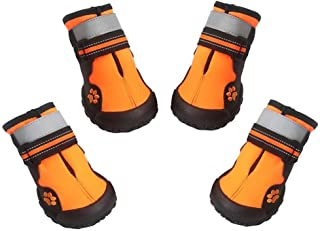 ASMPET Dog Boots Waterproof Shoes Reflective Anti-Slip Sole Snow Boots Warm Paw,4pcs
