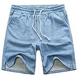 Manwan walk Men's Casual Classic Fit Cotton Elastic Jogger Gym Drawstring Knit Shorts...