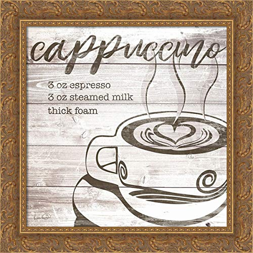 Harbick, N. 20x20 Gold Ornate Framed Canvas Art Print Titled: Farmhouse Cappuccino
