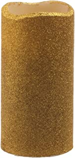 GiveU Flameless Real Wax LED Pillar Candle with Timer and Goldenrod Glitter Powder