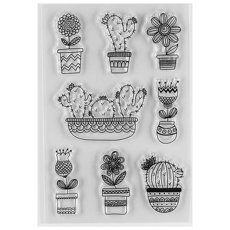 MaGuo Garden Plant Clear Rubber Stamps Cuctus and Flower for DIY Scrapbooking Paper Craft or Card Making Decoration
