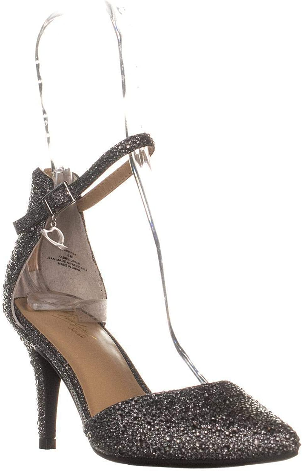 Thalia Ts35 Vanessa Ankle Strap Pumps, Pewter Metallic