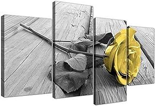 Sdefw 4 Piece Large Blue Rose Floral Canvas Wall Art Picture On Grey Split Set Big Modern Flowers Home Decor Print Multi T...
