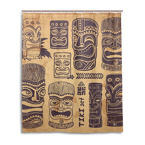 LEISISI Vintage Aloha Tiki Set Bathroom Shower Curtain 60' x...