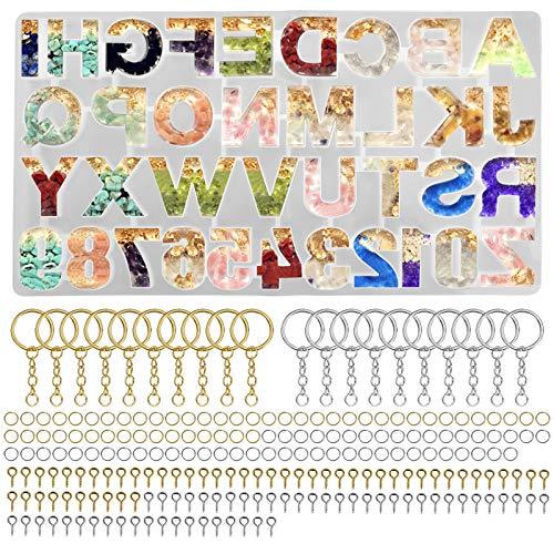 Stampi in Silicone per Resina Stampi, 221Pcs Resina Epossidica Stampo Silicone Numeri e Lettere Dell'alfabeto per Orecchini Pendenti, Creazione di Gioielli DIY