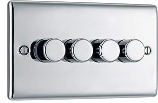 BG Electrical Quadruple Dimmer Light Switch, Brushed Steel, 2-Way, 400 Watts