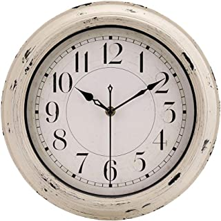"jomparis Retro Wall Clock, 12"" Beige Vintage Decorative Wall Clock Silent Non-Ticking Battery Operated Quartz Classic Wall Clock"