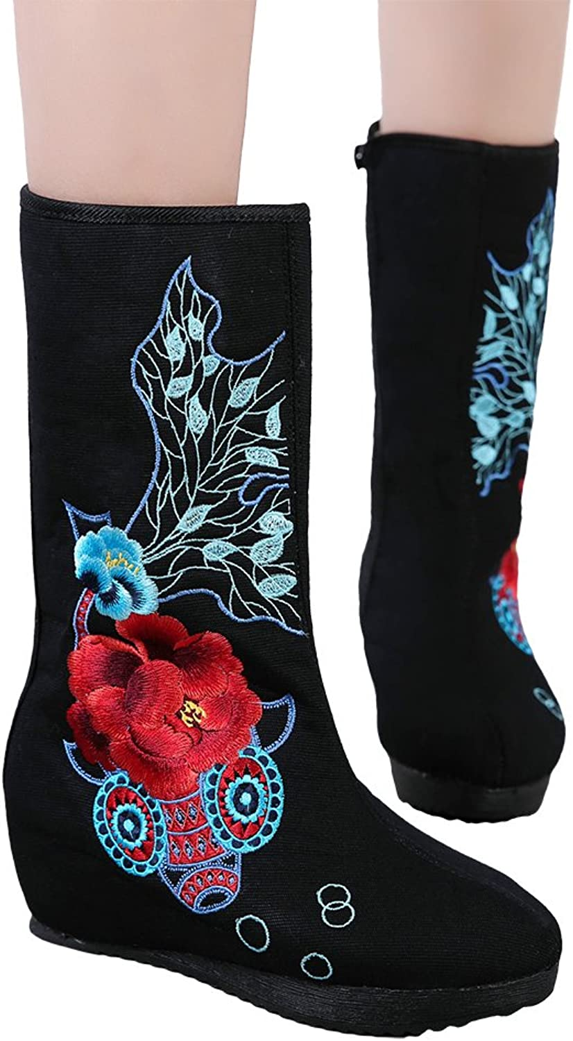 AvaCostume Womens goldfish Embroidery Wedge Heel Mid-Calf Boots