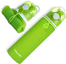 Valourgo Collapsible Sports Water Bottle - Leak Proof Roll up BPA Free Silicone Water Bottle for Travel and Outdoor, 21 oz