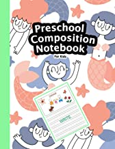 Preschool Composition Notebook: Cute Happy Mermaid Pattern Background, My First Draw and Write Journal Dotted Ruled Notebo...