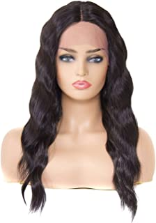 BuLaDou Glueless Lace Front Wigs Afro Synthetic Curly Wig Long Medium Natural Black Kinky Curly Wig For Black Women Pre Plucked Hairline with Baby Hair Heat Resistant Hair Wigs (1B, Black, 20inch)