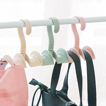 カバンかけ ハンドバッグ用 ネクタイ収納 クローゼット ベルトハンガー 360度回転 ネクタイハンガー 収納 カバン 一個 送料無料 (灰桜)