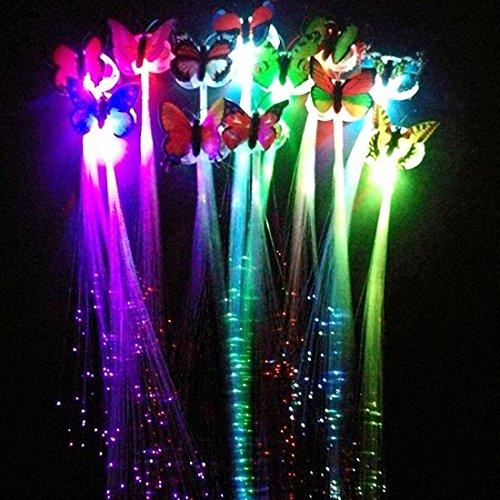 M.best 12 PCS LED Schmetterling (zufällige Farbe) Blinkende Faser Optik Haar Braid Barrettes für Light Up Glow Party--Alternating Multicolors