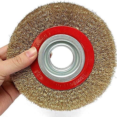 xiaoyu shop Trådborste 150 mm trådhjul rund mässingspläterad stål rostfri tråd borsthjul för bänk kvarn dekurring 6 tum