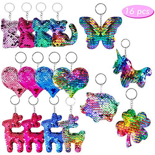 HENTEK 16 Stücke Pailletten Schlüsselanhänger 7 Arten Flip Pailletten Schlüsselanhänger für Junger Mädchen Geburtstag Party Dekoration