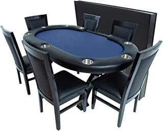 BBO Poker X2 Mini Poker Table for 8 Players with Speed Cloth Playing Surface, 74.5 x 47.5-Inch, Includes Matching Dining Top with 6 Dining or Lounge Chairs